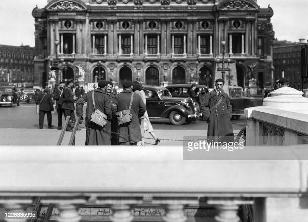 Picture taken in June 1940 at Paris showing the entrance of the Opera metro station during the setting up of passive defence measures due to the lead...