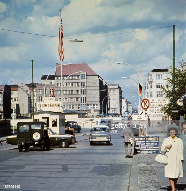 Picture taken in June 1968 of the famous Checkpoint Charlie crossing point marking the border between East and West Berlin The Berlin wall built by...