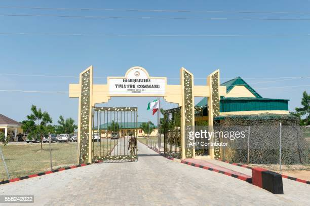 A picture taken in Maiduguri Borno State in northcentral Nigeria on October 4 2017 shows the headquaters of Operation Lafiya Dole The United Kingdom...