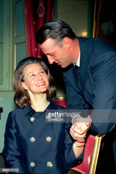 A picture taken in March 1968 in Oslo shows Norway's Crown Prince Harald and Sonja Haraldsen posing for photographers after the announcement of their...