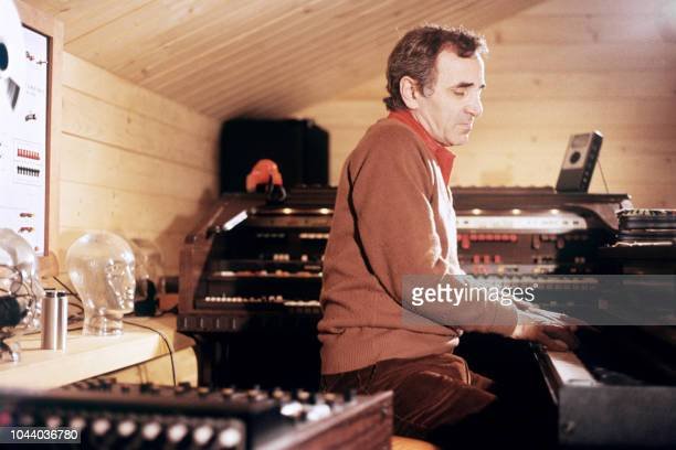 Picture taken in March 1980 of famous French singer Charles Aznavour during a rehearsal in his studio