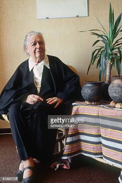 Picture taken in Marseilles 05 April 1984 of French novelist Marguerite Yourcenar pseudonym of Marguerite de Crayencour Born in Brussels she was the...