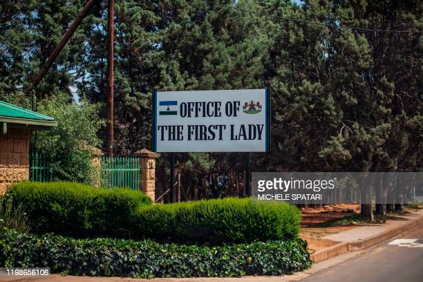 Picture taken in Maseru, on February 2, 2020 shows the exterior plaque of the Office of the First Lady of Lesotho.