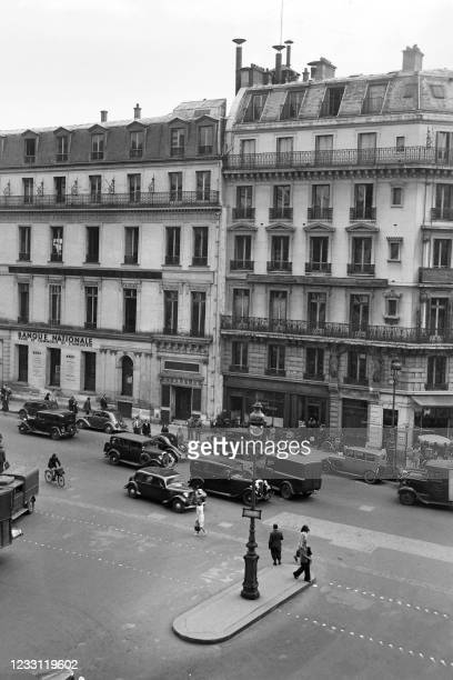 Picture taken in May 1947 of the Agence France Presse building on the Place de la Bourse, in Paris.