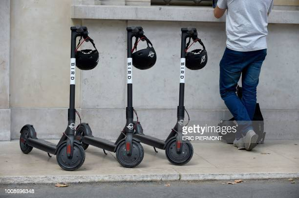 A picture taken in Paris on July 31 2018 shows electric scooters of US startup Bird Bird will launch its sharing service in Paris on August 1 2018
