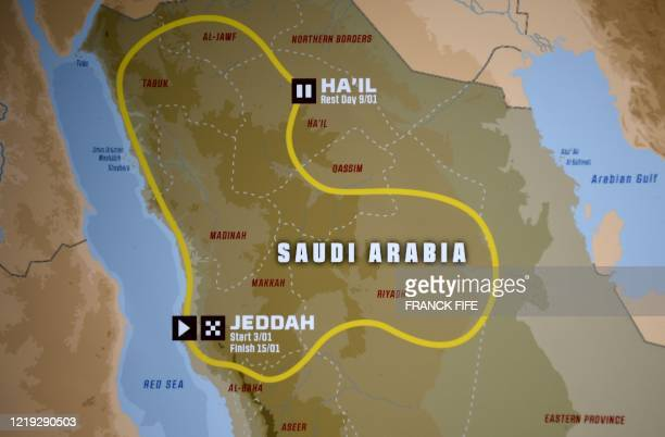 Picture taken in Paris on June 10 shows a map of the route of the 2021 Dakar Rally in Saudi Arabia. - The Dakar Rally will take place in Saudi Arabia...