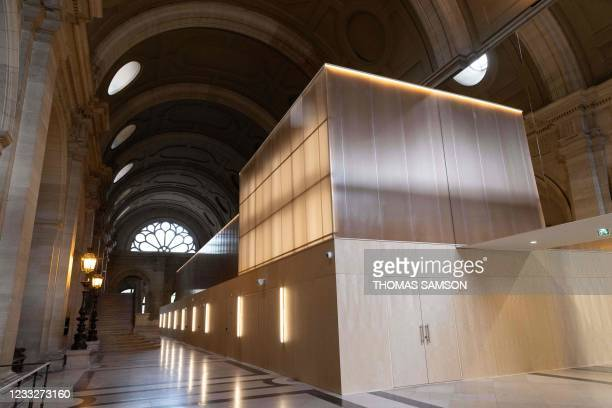 Picture taken in Paris, on June 4 shows a view of the temporary courtroom set up at the Palais de Justice of Paris ahead of the November 2015 Paris...