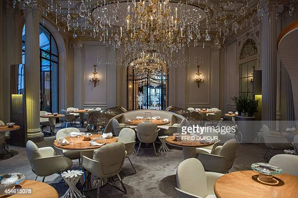 GIFFARD A picture taken in Paris on September 2 2014 shows Alain Ducasse's restaurant at the Plaza Athenee hotel Ducasse the godfather of French...