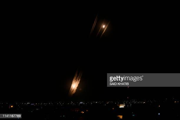 A picture taken in Rafah in the southern Gaza Strip on May 5 2019 shows rockets fired toward the Israeli areas from Gaza Strip Gaza militants fired a...