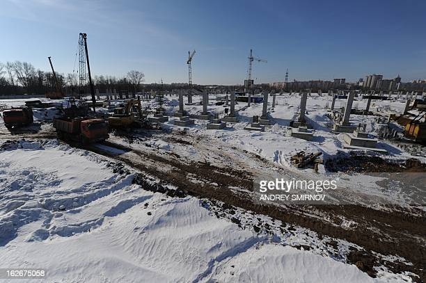 A picture taken in Saransk the capital of Russia's republic of Mordovia on February 25 shows a construction site of a new football satdium of FC...