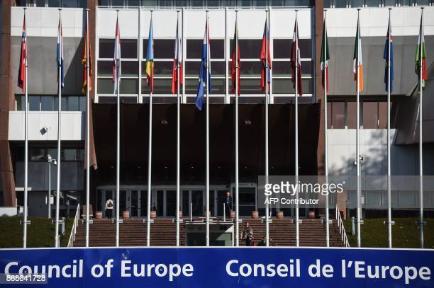 Picture taken in Strasbourg on October 31, 2017 shows the Council of Europe. French President Emmanuel Macron addresses the European Court of Human...