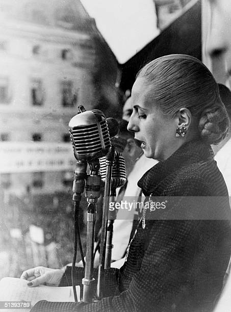 Picture taken in the 1940s in Buenos Aires of Eva Peron addressing a crowd Eva Peron known as Evita the second wife of Argentine President Juan Peron...