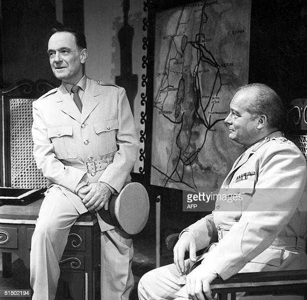 Picture taken in the 1950s at Sarah Bernhardt Theatre in Paris of French actors Pierre Fresnay , as Lawrence, and Pierre Brainville on the stage of...