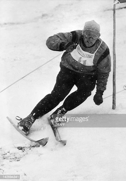 Picture taken in the 1960's of French skier Jean Vuarnet clearing a gate during the men's giant slalom Inventor of the egg position known today as...