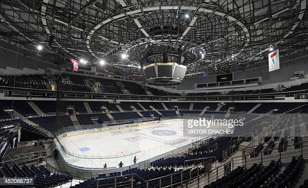A picture taken in the Belarus capital Minsk on November 26 shows a general view of The Minsk Arena ice rink the site of the 2014 IIHF Ice Hockey...