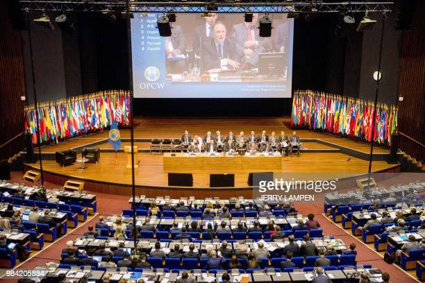 Picture taken in The Hague, on June 26, 2018 shows an overview of the opening of an extraordinary session of member-states of the Organization for...