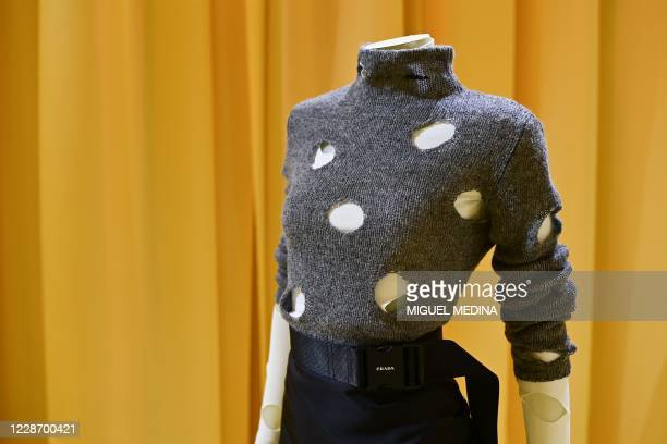 "Picture taken in the headquarters of Prada in Milan on September 25, 2020 shows the ""Resees"" of the Prada's Spring/Summer 2021 Milan Fashion Week..."
