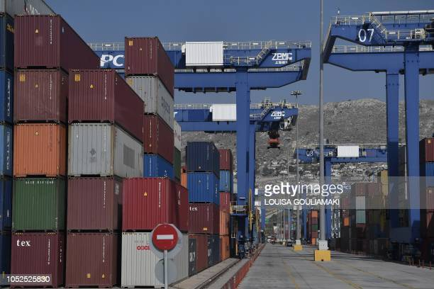 A picture taken in the port of Piraeus on October 18 2018 shows a view of the new container terminal Chinese shipping giant Cosco said it has...