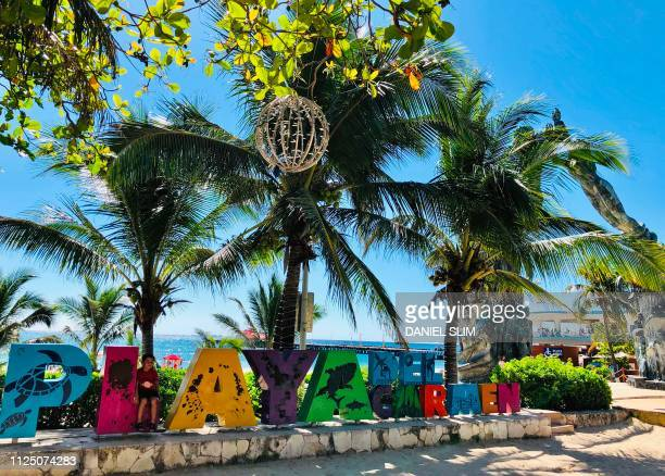 Picture taken in the seaside tourist resort of Playa del Carmen Quintana Roo State on February 15 2019 Playa del Carmen and nearby Cancun are the top...