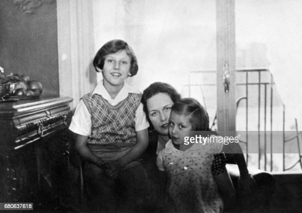 picture taken in the thirties of Arlette Stavisky widow of Alexandre Stavisky with her two children Arlette Stavisky was cleared in France of charges...