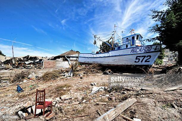 Picture taken in the tsunami-hit city of Constitucion, some 300 km south of Santiago, on March 4, 2010. The official death toll from Saturday's...