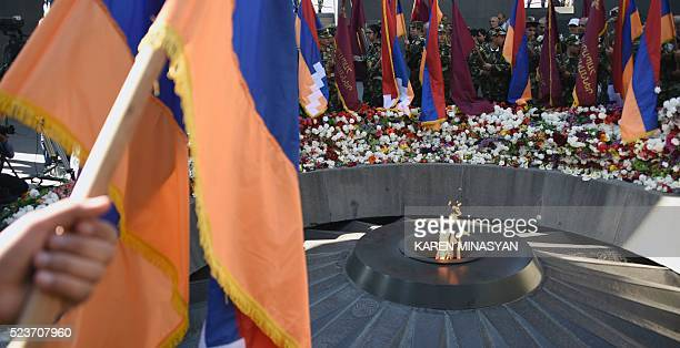 A picture taken in Yerevan on April 24 2016 shows the Armenian Genocide Memorial during a ceremony to commemorate the 101st anniversary of the World...