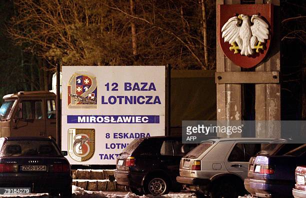 Picture taken late 23 January 2008 shows the the Military base in Miroslawiec. All 19 people on board a Polish EADS Casa military transport aircraft...