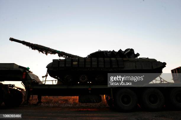 A picture taken near Urzuf village not far from the city of Mariupol eastern Ukraine on November 29 2018 shows a Ukrainian tank during military...