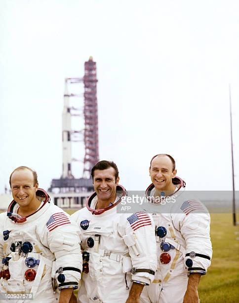 Picture taken November 1969 of US Astronauts of Apollo 12 mission Charles 'Pete' Conrad Jr commander Richard F Gordon command module pilot and Alan L...