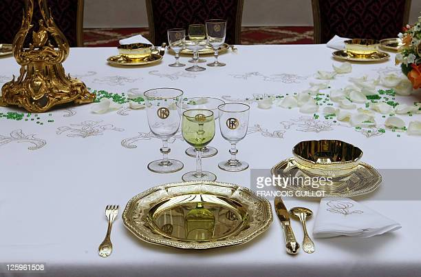 Picture taken of a table in the Napoleon III dining room of the presidential Elysee Palace on September 17 in Paris during the 28th edition of...