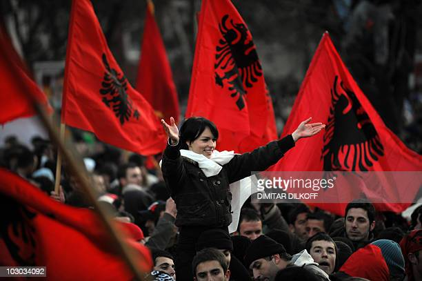 A picture taken of February 17 2008 shows a girl shouting slogans as celebrating the independence of Kosovo in the capital Pristina on February 17...