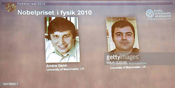 A picture taken of the giant screen behind members of the Swedish Royal Academy of Sciences in Stockholm while they announce on October 5 2010 that...