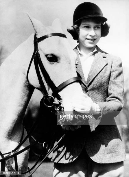 Picture taken on 1939 showing Princess Elizabeth, the futur Queen Elizabeth II, in Windsor great Park with her white pony.