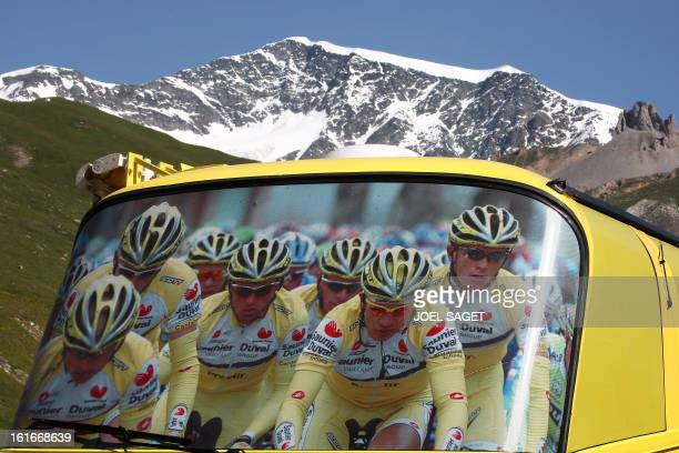 Picture taken on a rest day in the 94th Tour de France cycling race 16 July 2007 of the bus of the Spanish Saunier Duval team parked in Tignes AFP...