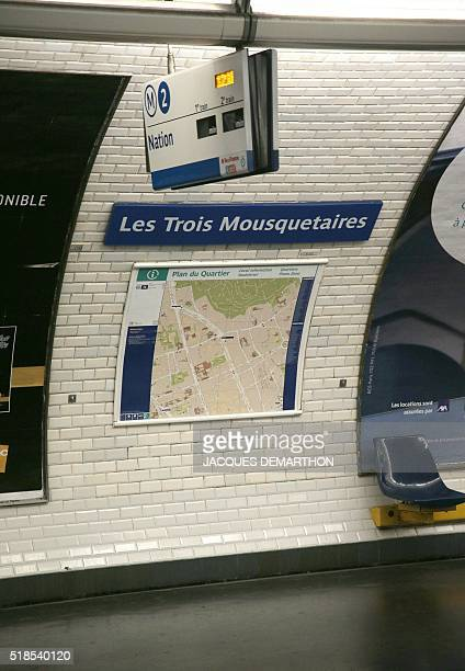A picture taken on April 1 2016 in Paris metro shows a fake station's name rebaptised The three musketeers instead of Alexandre Dumas by the RATP for...