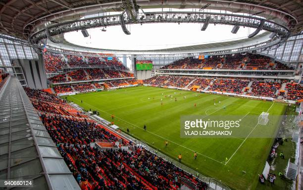 A picture taken on April 1 2018 shows a view of the Central stadium in the Russian Urals city of Yekaterinburg The venue will host four matches of...