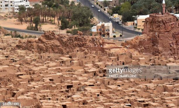 A picture taken on April 1 2018 shows an aerial view of the old historical town of alUla in northwestern Saudi Arabia AlUla an area rich in...