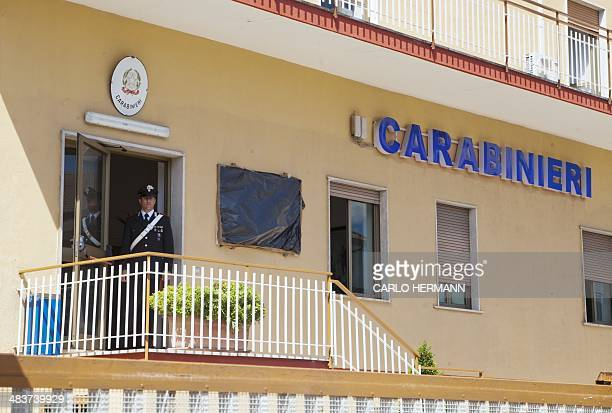 A picture taken on April 10 2014 shows a Carabinieri station in Cassino south of Italy Italian police said today they are launching an investigation...