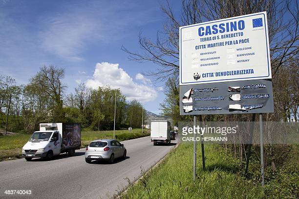 A picture taken on April 10 2014 shows a welcoming sign at the entrance of Cassino south of Italy Italian police said today they are launching an...