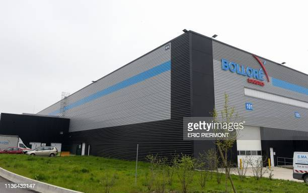 A picture taken on April 10 2019 shows the French International transport and logistics company Bollore Logistics' hub at RoissyCharles De Gaulle...