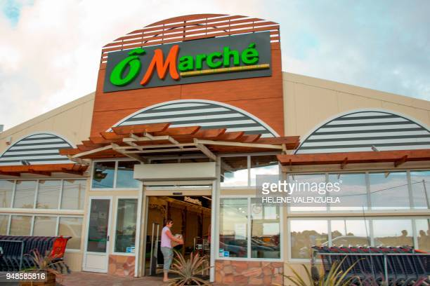 A picture taken on April 11 2018 shows an external view an 'O Marche' supermarket in SaintFrancois on the French overseas territory of Guadeloupe