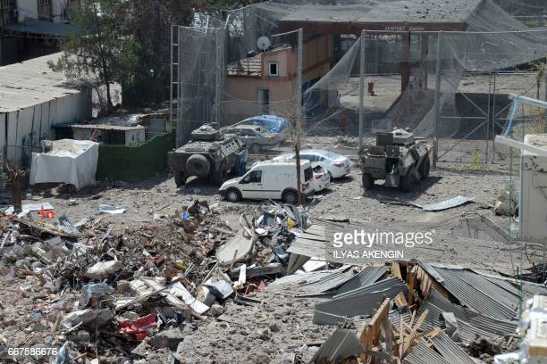 A picture taken on April 12 2017 shows the damage a day after an explosion hit the police headquarters in the Kurdish majority city of Diyarbakir...