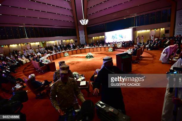 A picture taken on April 12 shows a general view of the hall housing the preparatory meeting of Arab Foreign Ministers ahead of the 28th Summit of...