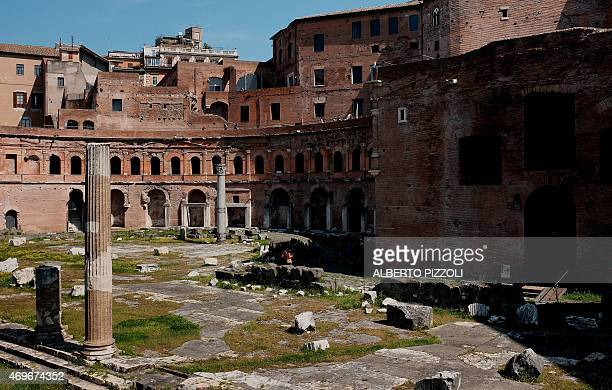 A picture taken on April 13 2015 shows the antic Forum of Trajan in Rome The Forum of Trajan will be part of the monuments restored thanks to the...