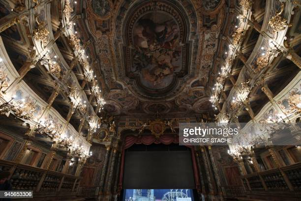 A picture taken on April 13 2018 shows a view of painted ceilings at the Margravial Opera House in Bayreuth a day after its official reopening...
