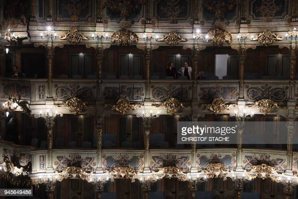 A picture taken on April 13 2018 shows a view of spectator boxes at the Margravial Opera House in Bayreuth a day after its official reopening...