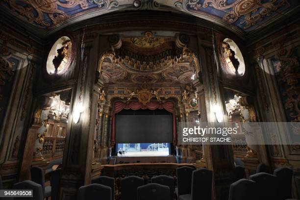 A picture taken on April 13 2018 shows a view of the inside of the Margravial Opera House in Bayreuth a day after its official reopening following...