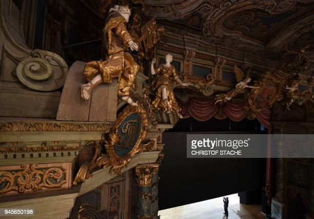 A picture taken on April 13 2018 shows a view of the stage of the Margravial Opera House in Bayreuth a day after its official reopening following six...