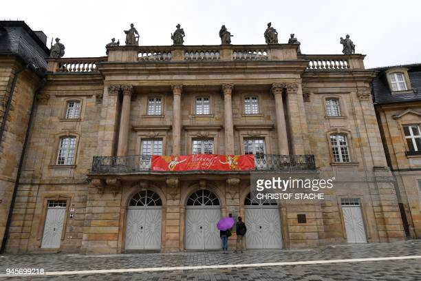 A picture taken on April 13 2018 shows an outside view of the Margravial Opera House in Bayreuth a day after its official reopening following six...