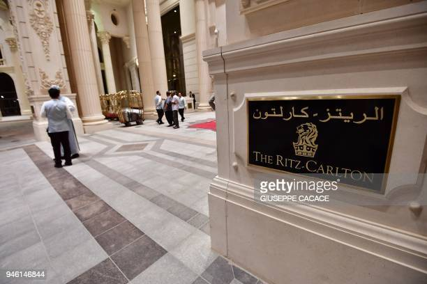 A picture taken on April 13 2018 shows the main entrance of the Ritz Carlton hotel in the Saudi capital Riyadh